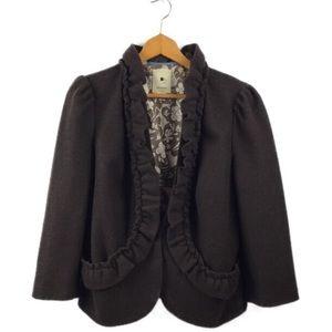 Anthropologie Elevenses Brown Ruffled Jacket Sz 14